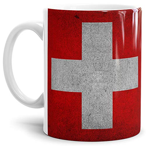 Tassendruck Flaggen-Tasse Schweiz Retro-Style - Kaffeetasse/Mug/Cup - Qualität Made in Germany