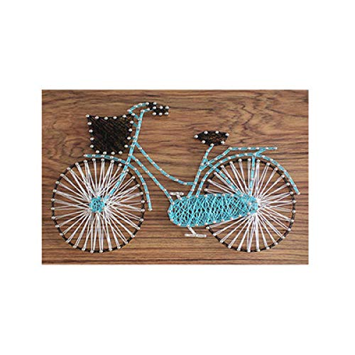 DIY string zijde schilderij handgemaakte garen schilderij eenvoudige fiets kronkelende schilderij huisdecoratie schilderij 25 * 30cm