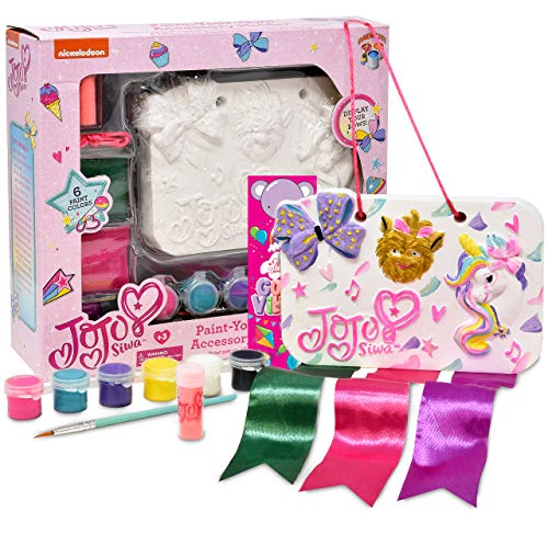 JoJo Siwa Paint Your Own Bow Holder and Plaster Accessory, Decorate Your Own Painting Set, Includes 6 Pots of Paint, Gift Boutique Bookmark, Complete Plaster Craft Kit for Kids