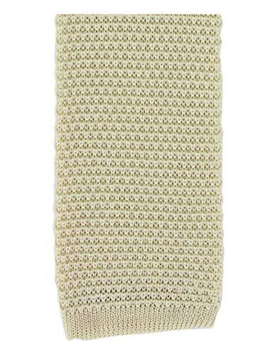 Une cravate en soie tricotée crème Michelsons
