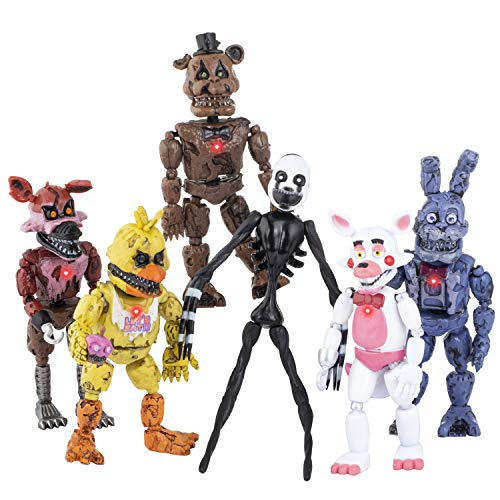 2021 FNAF Action Figures — Five Nights at Freddys Action Figure Set of 6 — Toys for Boys and Girls — Birthday Gifts — Cake Toppers — 6 Inches