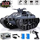 1:12 Scale Remote Control Police Tank Car - RC Trucks Off-Road, All Terrain Vehicle, 360°Rolling Flip, 4WD High Speed, 2.4Ghz Radio Controller, Electric Toy Car Gift for Boys and Adults