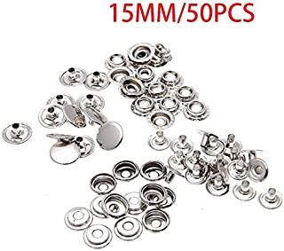 BEESCLOVER 50pcs/Set Metal Sewing Press Studs Buttons Snap Fastener Clothes Coat Jacket Clothing DIY Decoration Garment Accessories 15mm Silver 15mm