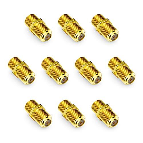 deleyCON 10x SAT Adapter Verbinder Koaxialkabel verlängern 2X F-Buchse Schmale Mutter Vergoldet für Sat Kabel BK Anlagen