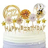 BEAN LIEVE Birthday Candles Set - Cake Topper Decoration with Cake Candles Confetti Balloon Stars and Fan Cupcake Toppers 12 Pieces Birthday Cake Decor for Birthday Party Celebration (Gold)