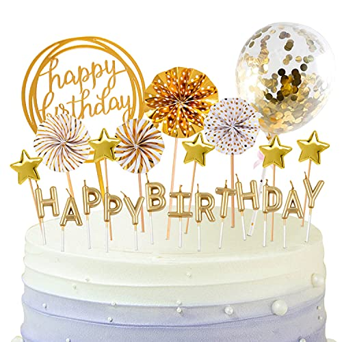BEAN LIEVE Birthday Candles Set - Cake Topper Decoration with Cake Candles Confetti Balloon Stars...