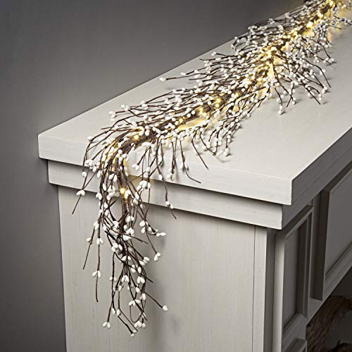 Pip Berry Garland with Lights - 5 Feet Long, 100 LED, Brown Twig Branches with White Berries, Primitive Style, for Winter Decoration and Farmhouse Decor, Battery Powered, Timer Included