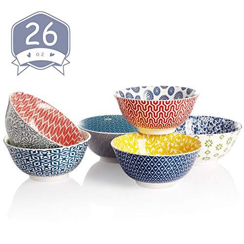 Amazingware Porcelain Bowls - 26 Ounce for Cereal, Soup, Salad and Fruit, Set of 6, Assorted Designs