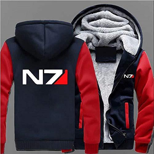 COZY LS Chaqueta con Capucha Suéter - Mass Effect N7 Imprimir Caliente Sudadera Postal Uniforme De Béisbol De Los Hombres Largos De La Manga Suéter Superior -Teen Regalo Red-S
