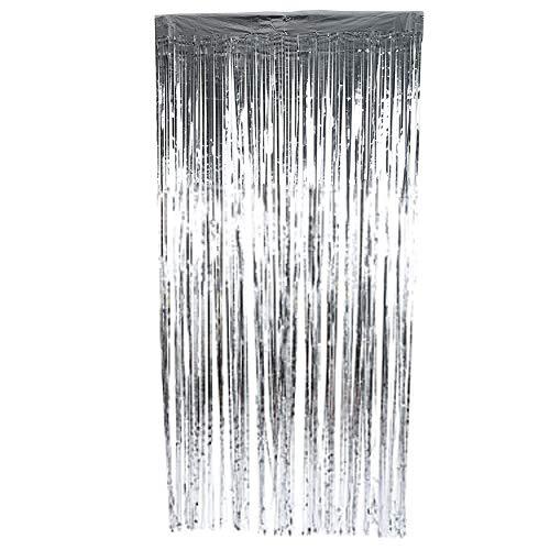 Ftvogue Folien-Fransenvorhänge Lametta-Metallic-Foto-Hintergrund für Hochzeit, Geburtstag, Bühne, Party, Dekoration, silber, 2 m