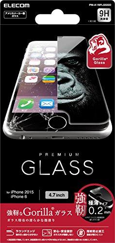 ELECOM iPhone 6s/6 液晶保護ガラスフィルム ゴリラガラス 浮きにくい [3D touch 最高硬度9H 極薄0.2mm ラウンドエッジ加工 飛散防止設計] PM-A15FLGGGO