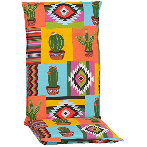 MYNE | Hochlehner Auflage Piemont | 118x46x8 cm Mexiko | Gartenmöbel Auflage mit Halteband & Bindebändern