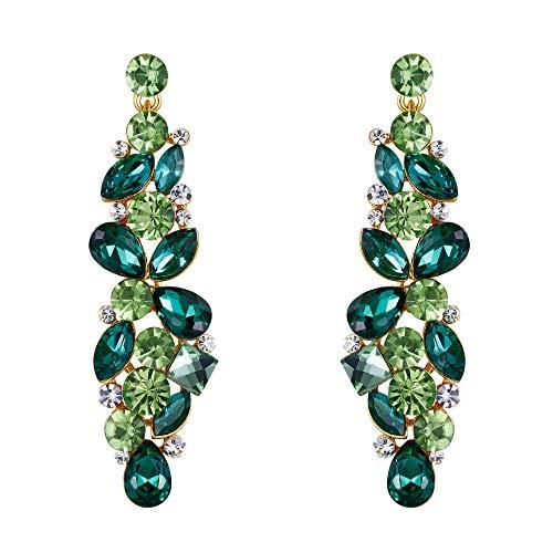 EVER FAITH-Orecchini Strappare Fiore Goccia Grappolo Ciondola gli Orecchini a Cristallo Verde
