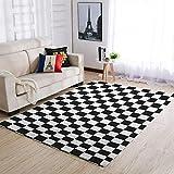 Alfombra de lujo con diseño de tablero de ajedrez, muy bonita, cómoda, para salón, color blanco y negro, para decoración del hogar, 50 x 80 cm