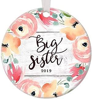 Wini2342ckey Big Sister Christmas Ornament 2019 Pretty Pink Floral Baby or Bridal Shower Ceramic Keepsake Gift Older Daughter New Sibling Sister Bride Best Friend 3