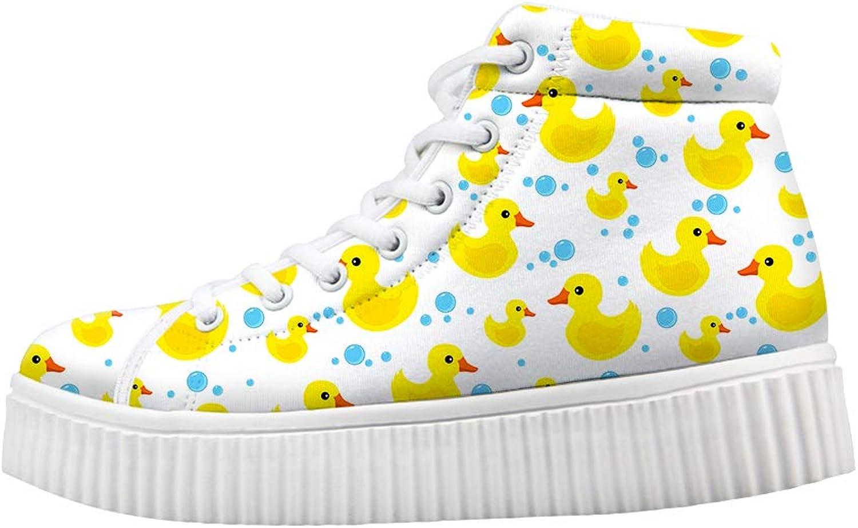Owaheson Platform Lace up Sneaker Casual Chunky Walking shoes Women Rubber Duck Water Drops Bubbles