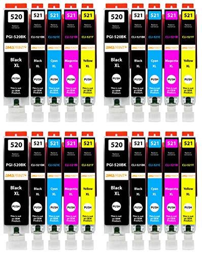 Amaprint 20 XL Patronen kompatibel mit Canon PGI-520 CLI-521 passend für Pixma IP3600 IP4600 IP4700 MP540 MP550 MP560 MP620 MP630 MP640 MX860 MX870