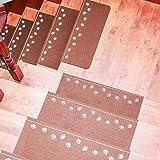 QWF Treppenstufen Teppich 13 Stück leuchtender Selbstklebender, Rutschfester, klebender Boden Treppenschutzfolie Treppenteppiche Schutz Bärentatzenmuster Boden für Treppenstufenschutz - 3