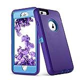 VCOSI iPhone 6S Plus Case, 5.5 Inch Screen Soft TPU+Hard PC Shock-Resistant Dustproof Case Heavy Duty Protective Case for iPhone 6S/Plus 6G Plus (Purple&Blue)