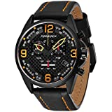 Torgoen T18 Black Carbon Fiber Chronograph Pilot Watch for Men, Swiss Quartz, K1 Crystal with Black Leather Strap