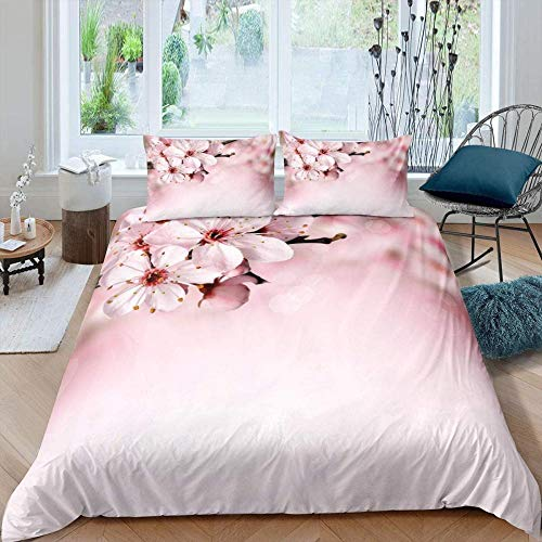 Rnvvaceo Pink plant plum simple pattern Bedding Sets, 3D Quilt Duvet Cover & 2 Pillowcases 3 Pieces Microfiber Ultra Soft Hypoallergenic Breathable Easy Care for Single Double Super King Size Single