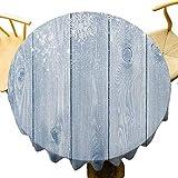 VICWOWONE Mantel de invierno – Mantel redondo de cocina de 35 pulgadas con textura de madera congelada, copos de nieve, inspiraciones rústicas, diseño retro, apto para cafetería Bluegrey blanco