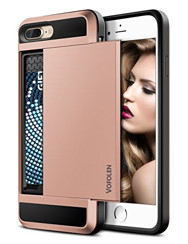 Vofolen Case for iPhone 8 Plus Case Wallet Credit Card Holder ID Slot Sliding Cover Hidden Pocket Dual Layer TPU Bumper Armor Anti-Scratch Protective Hard Shell Case for iPhone 8 Plus 7 Plus Rose Gold