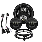 7 inch LED Headlight Fog Passing Lights Kit Ring Motorcycle Compatible with Harley Davidson Classic Street Glide Fat Boy Road King Heritage Softail Chrome (Black-set)