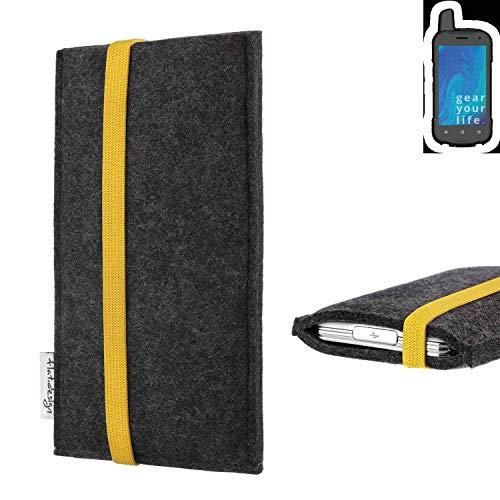 flat.design vegane Handy Tasche Coimbra für Ruggear RG720 - Schutz Hülle Tasche Filz vegan fair gelb