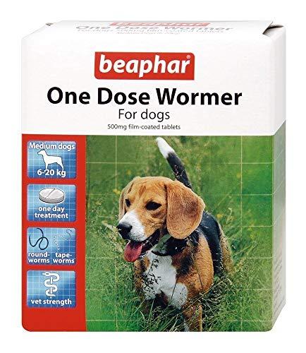 Beaphar - Pastilla desparasitadora de una sola dosis para perros medianos -...