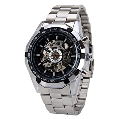 Winner - Reloj de pulsera hombre, acero inoxidable, color plateado