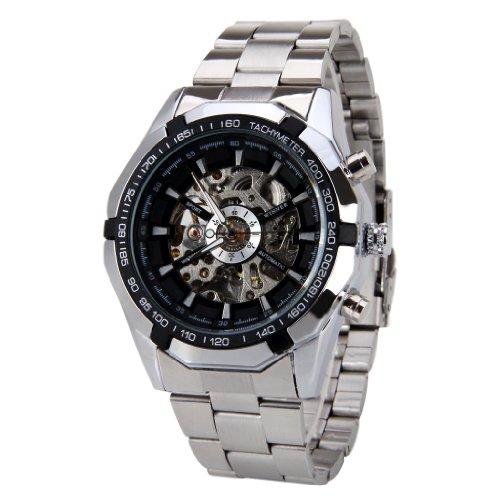 Reloj de Pulsera analógico y automático, para Hombre, con Esfera Negra, con Caja de Regalo