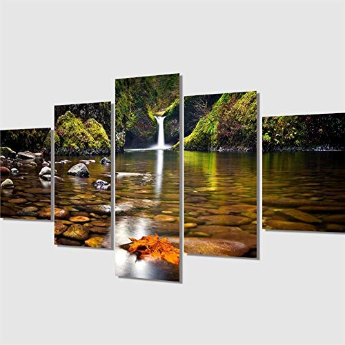 WXQHYD Wallpaper Paste 5 Pcs Waterfall Landscape Painting Modern Home Decor Canvas Art Modular Pictures Oil Painting On The Wall Print Hanging Paintings (Size (Inch) : Size 3)