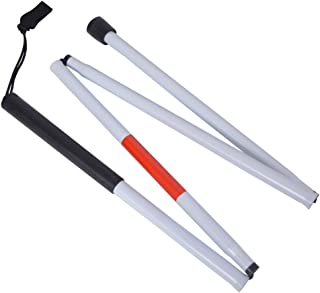 Baitaihem Folding Blind Cane Reflective Red Folding Walking Stick for Vision Impaired and Blind People