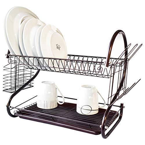 Soporte para Tabla de Cortar Soporte para Utensilios Vivi Rejilla para Platos de 2 Niveles Rejilla para secar Platos de Acero Cromado Organizador de Cocina con Tabla de Drenaje