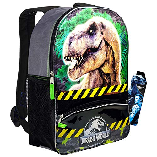 Jurassic World Backpack Set for Boys Kids ~ Premium 16' Jurassic Park Dinosaur Backpack with Dinosaur Bookmark (Dinosaur School Supplies)