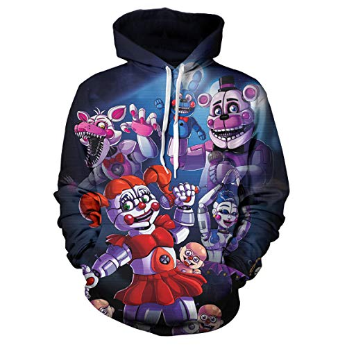 Kids Five Nights at Freddy's Hoodie 3D Printed Pullover for Unisex Sweatshirts Boy/Girl 1-L(14-16)