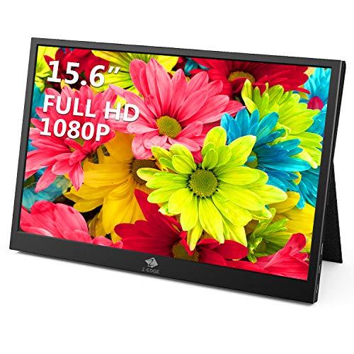 Z-Edge - Monitor portatile USB di tipo C da 15,6 pollici, schermo IPS 1920 x 1080 Full HD Gaming Monitor con mini HDMI di tipo C per laptop, PC, Mac, smartphone, Xbox PS4, switch ecc, custodia inclusa