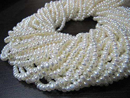 Shree_Narayani Natural Agua Dulce Perla Rondelle Tamaño 3mm Perlas 16