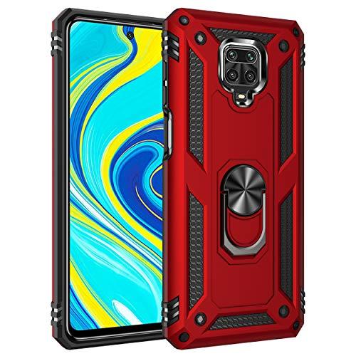 XIFAN Funda para Xiaomi Redmi Note 9S/9 Pro/9 Pro MAX, [Robusto] Anillo Metálico Soporte [Funciona con El Montaje De Coche Magnético] Case Carcasa, Rojo