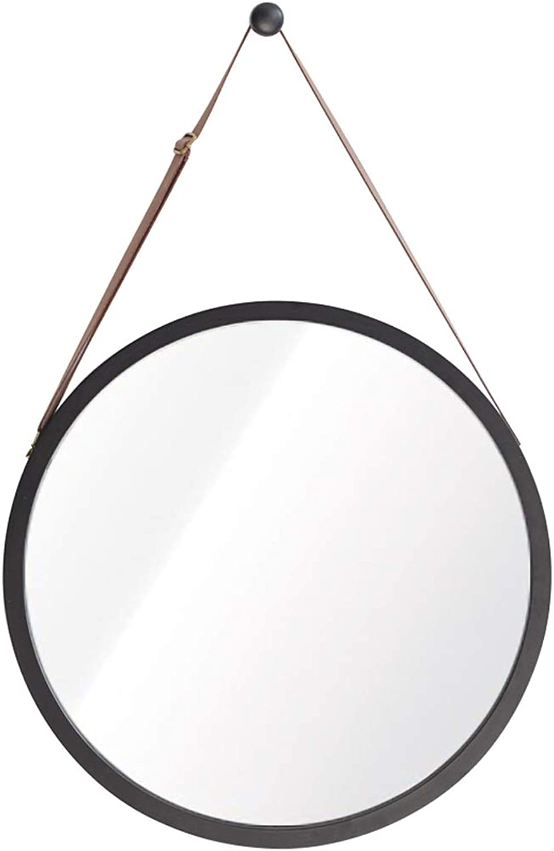 Round Bathroom Mirror for Entrance Passage, Washroom, Living Room, Etc. - Wall-Mounted Mirror(Diameter 38 45cm Black)