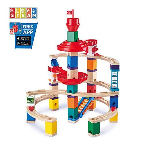 Hape E6024 - Super-Spiralburg, Quadrilla Kugelbahn, Konstruktionsspielzeug mit umfangreichem Zubehör, 129 teilig, aus Holz, ab 4 Jahren, mehrfarbig