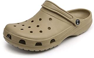 2019 Mens Fashion Sandals for Men Outdoor Clogs Sandals Mens Holes Slippers Summer Beach Shoes Antislip Women Water Shoes Fashion Plastic Material Anti-Collision Toe Hollow (Color : Khaki)