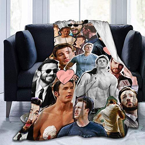 KINGAM C-Hris Evans Decke Flanell-Fleece-Überwurfdecke für alle Jahreszeiten, Plüsch, flauschig, leicht, superweich, luxuriös, warme Mikrofaser-Decke für Bett/Sofa/Stuhl