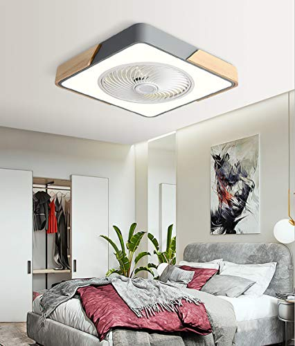 Ceiling Fans with Lights, 20.5'' Modern Wooden Metal Shell 3-Color Lighting 3 Speed Invisible Acrylic Blades Metal Shell Semi Flush Mount Low Profile Fan, ceiling fan light covers,Gray,Square