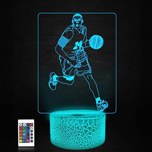 Lámpara baloncesto 3d, CooPark cool deporte LED Óptico Holograma Luz de noche 16 colores cambian con control remoto, decoración de la habitación de los niños Regalos creativos para niños niñas
