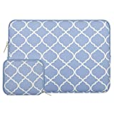 MOSISO Laptop Sleeve Compatible with 2019 2018 MacBook Air 13 inch Retina Display A1932, 13 inch MacBook Pro A2159 A1989 A1706 A1708, Canvas Geometric Bag with Small Case, Serenity Blue Quatrefoil