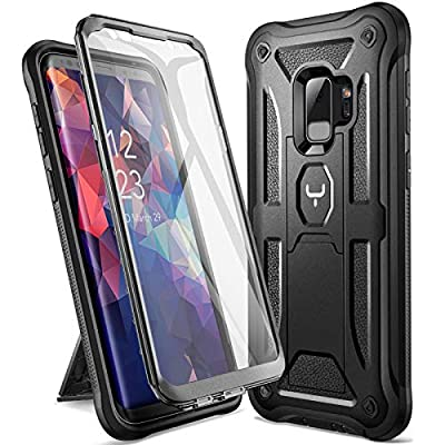 Galaxy S9 Case, YOUMAKER Heavy Duty Protection Kickstand with Built-in Screen Protector Shockproof Case Cover for Samsung Galaxy S9 5.8 inch (2018 Release)