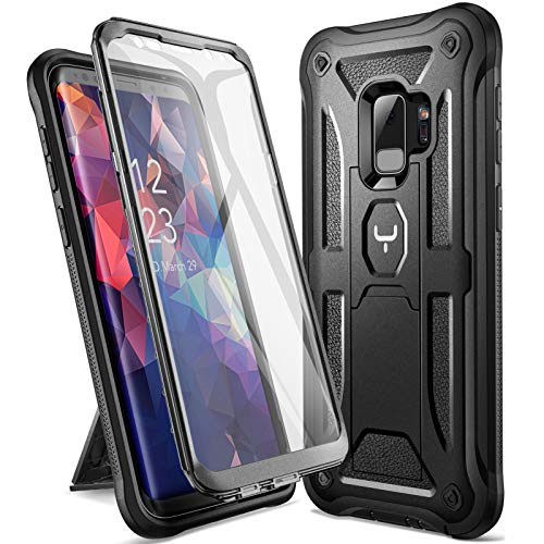 YOUMAKER Designed for Galaxy S9 Case, Heavy Duty Protection Kickstand with Built-in Screen Protector Shockproof Case Cover for Samsung Galaxy S9 5.8 inch (2018 Release) - Black