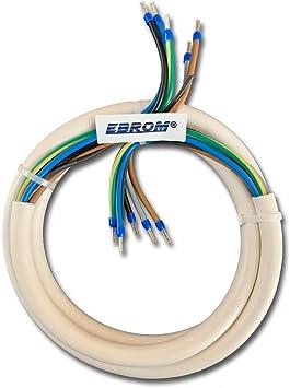 Ebrom Herdanschlusskabel Herdanschlussleitung H05vv F 5x2 5 Mm 5g2 5 Weiß Fertig Konfektioniert Gecrimpt Mit Aderendhülsen Blau 3 N Pe Viele Längen Verfügbar In 0 5 Meter Schritten Bis 40 M Baumarkt